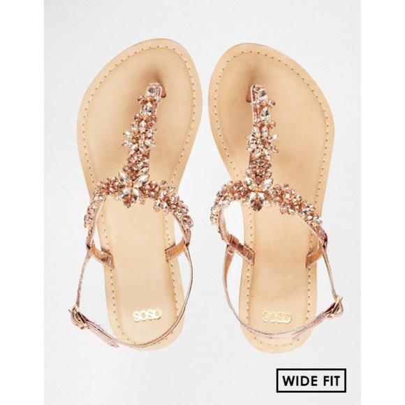 b012eb991d9d09 ASOS Shoes - ASOS Fiji Rose Gold Jeweled Flat Sandals (Wide)